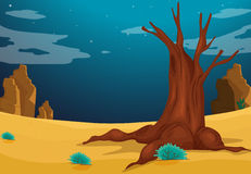 A desert with a big tree Royalty Free Stock Image