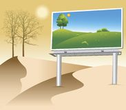 DESERT BILLBOARD. Billboard with a green natural poster on deserted land Stock Images