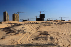 Desert and biulding. What become what? everything changed Royalty Free Stock Photo