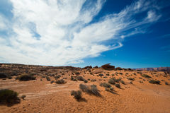 Desert and blue sky. An overlook of the desert, with blue sky and cloud as the background Stock Photography
