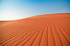 Desert and blue sky. Sand and dunes Royalty Free Stock Photos