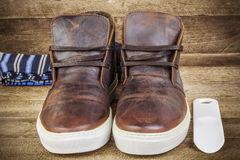 Desert boots in brown with socks Royalty Free Stock Photo