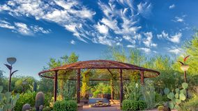 Desert Botanical Garden Phoenix Az, Gazebo with bright blue skies, beautiful clouds, and cactus species galore. royalty free stock photos