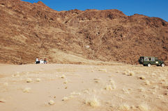 In the desert breakfast. Luxury meal - off-road safari stock photos