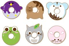 Kawaii animals donuts set isolated on white. Cute cartoon characters. Stock Image