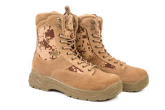 Desert brown canvas combat boots, isolated Stock Photo