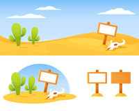 Desert with cactus, bison skull and blank wooden board Royalty Free Stock Images