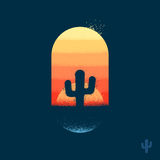 Desert cactus emblem stock illustration