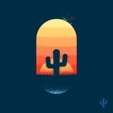 Desert cactus emblem. Cactus in desert illustration emblem with texture Royalty Free Stock Photo