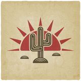 Desert cactus at sunset old background Royalty Free Stock Image