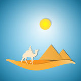 Desert with camel paper cut design Stock Images