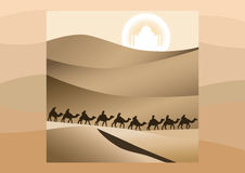 Desert camels caravan Royalty Free Stock Images