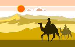 Desert with camels. Clouds and  sun illustration Stock Images