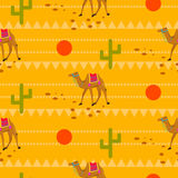 Desert camels in sands seamless pattern. Stock Image