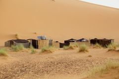 Desert camp. Morocco, Erg Chebbi: tourist desert camp with modern facilities made with Berber traditional tents. Erg Chebbi is of Morocco's two Saharan ergs Royalty Free Stock Image