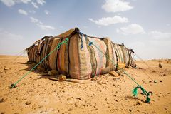 Desert Camp. The bedouins tent in the sahara, morocco Royalty Free Stock Photography