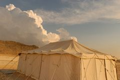 Desert camp. Camp in the Bahrain desert with cloudy sky background Stock Photography