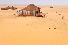 Desert Camp. The bedouins tent in the sahara, morocco Stock Image