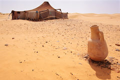 Desert Camp. The bedouins tent in the sahara, morocco Royalty Free Stock Photos