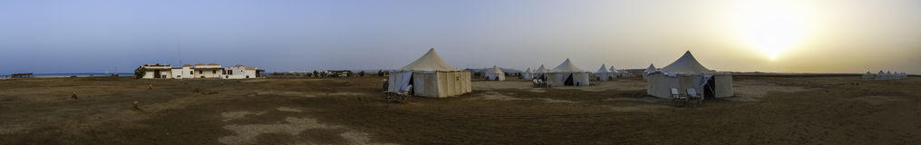Desert Camp Panorama. Wadi Lahami diving camp in the south of egypt Royalty Free Stock Photography