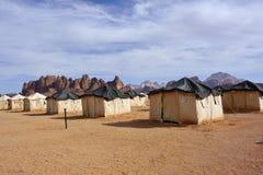 Desert camp. In Wadi Rum at sunset time, Jordan Royalty Free Stock Photography