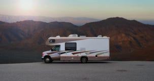Desert Camper Van At Dawn stock video footage