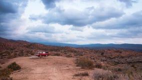 Desert campervan camping. stock photo