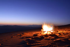 Desert campfire in Saudi Arabia. Desert campfire during sunset with blue sky in Saudi Arabia Royalty Free Stock Photos