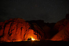Desert Campfire. A campfire in the desert under the stars Royalty Free Stock Photos