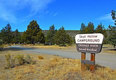 Desert Campground. Skull Hollow Campground in the Crooked River National Grassland - OR royalty free stock images