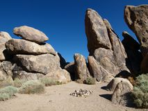 Desert Campsite. Rock formation campsite in California's mojave desert Stock Photos