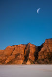 Desert Canyon. Deserted canyon under crescent moon Royalty Free Stock Photos