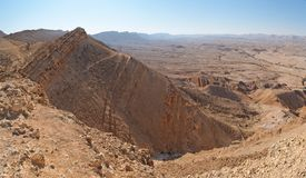 Desert canyon. View of the desert canyon Makhtesh Gadol (the Large Crater) in Israel Stock Image