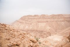 Desert Canyon in Israel Dead Sea travel attraction for tourists Royalty Free Stock Photography
