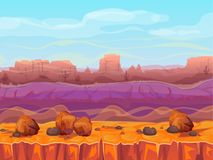Desert canyon landscape vector illustration. Of Arizona valley or Mexican rock mountains. Cartoon summer desert nature or wild west concept scenery background royalty free illustration