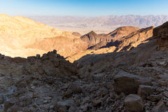 Desert canyon mountains rock cliffs gorge, Negev travel Israel. Royalty Free Stock Images