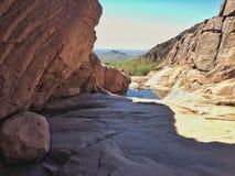 Desert canyon shadows Stock Images