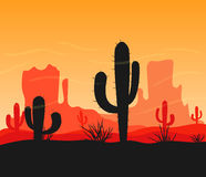 Desert canyon view stock illustration
