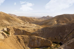 Desert canyon of Wadi Kelt Stock Photos