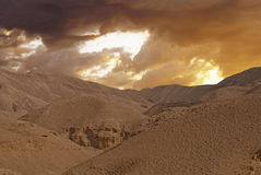 Desert canyon of Wadi Kelt in Israel Stock Photos