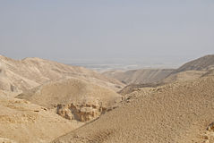 Desert canyon of Wadi Kelt in Israel Stock Photo