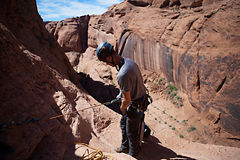 Desert Canyoneering Stock Photo