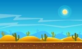 Desert cartoon background. Game style desert cartoon landscape background design Stock Photography