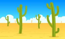 Desert Cartoon Landscape. Cartoon illustration of the desert landscape with cactus Royalty Free Stock Photography