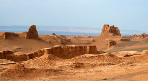 Desert Castles. Sand castles in the remote iranian desert royalty free stock images