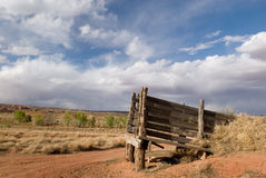 Desert Cattle Chute 2. An old cattle chute stands against an amazing blue sky in America's beautiful desert near Escalante, Utah Royalty Free Stock Image