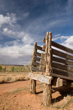 Desert Cattle Chute. An old cattle chute stands against an amazing blue sky in America's beautiful desert near Escalante, Utah Royalty Free Stock Photography