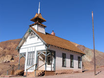 Desert church. Calico California church in barren desert setting stock photography