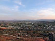 Desert and city panoramic views from hiking trails around St. George Utah around Beck Hill, Chuckwalla, Turtle Wall, Paradise Rim, Stock Image