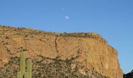 USA, Arizona: Desert Cliff with moon and plane Stock Photo